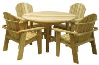 Click to enlarge image Garden Table and Four Chairs - Five Pieces in One Set for the Best Value! Over $50 off!